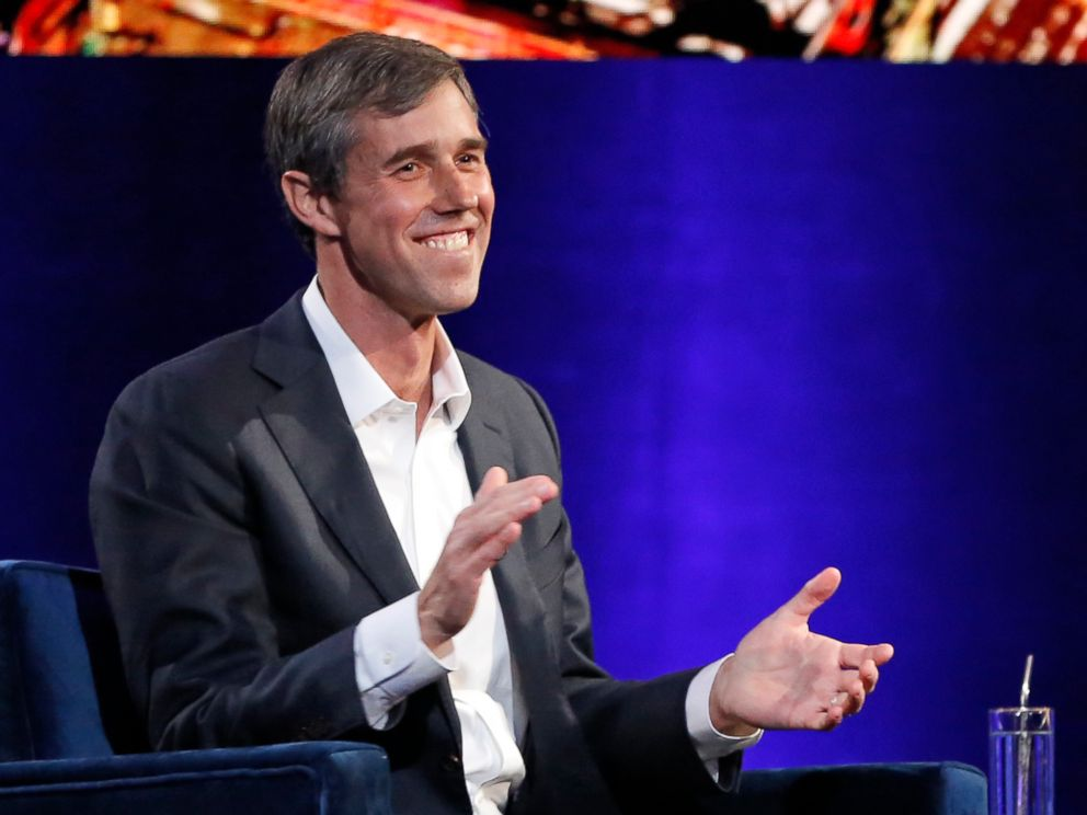 PHOTO: Former Democratic Texas congressman Beto ORourke laughs as with Oprah Winfrey presses him to make the announcement that he is running for president during a live interview, Tuesday, Feb. 5, 2019, in New York.
