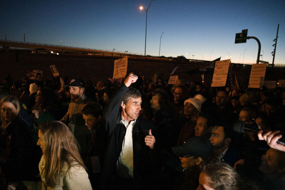 PHOTO: Beto ORourke, the Democratic former Texas congressman, participates in an anti-Trump march in El Paso, Texas, Feb. 11, 2019.