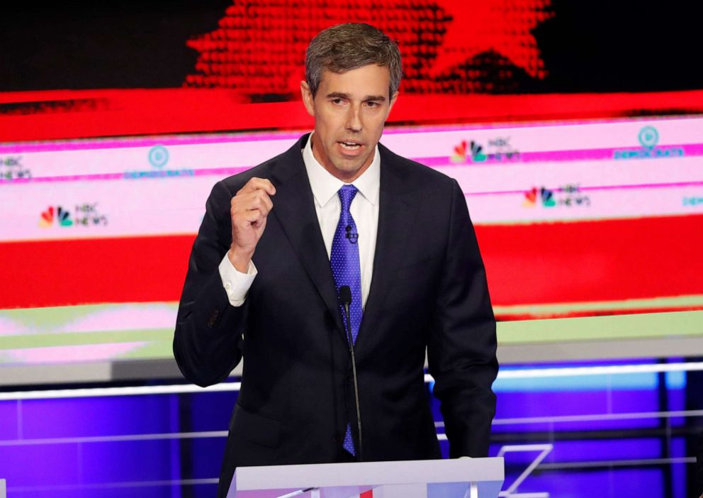 PHOTO: Beto ORourke participates in the first Democratic primary debate hosted by NBC News at the Adrienne Arsht Center for the Performing Arts in Miami, Florida, June 26, 2019.