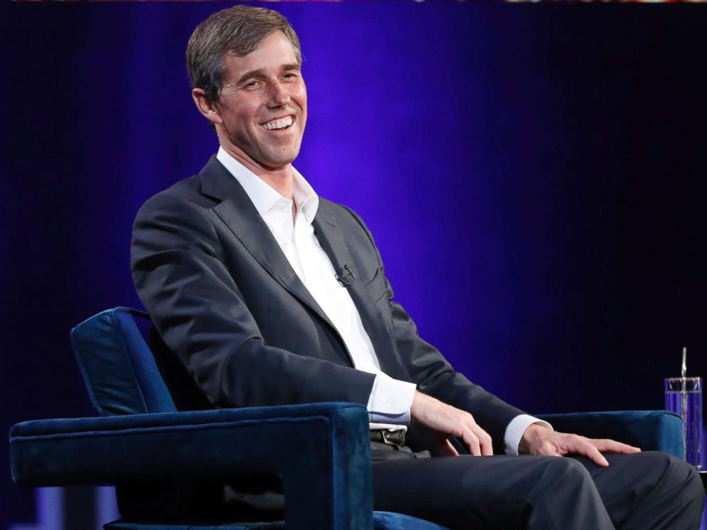 PHOTO: Former Democratic Texas congressman Beto ORourke laughs during an interview with Oprah Winfrey for Oprahs SuperSoul Conversations from Times Square, Feb. 5, 2019, in New York.