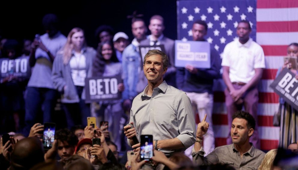 PHOTO: Democratic presidential candidate, former Rep. Beto ORourke (D-TX) speaks during a campaign rally, Oct. 17, 2019, in Grand Prairie, Texas.