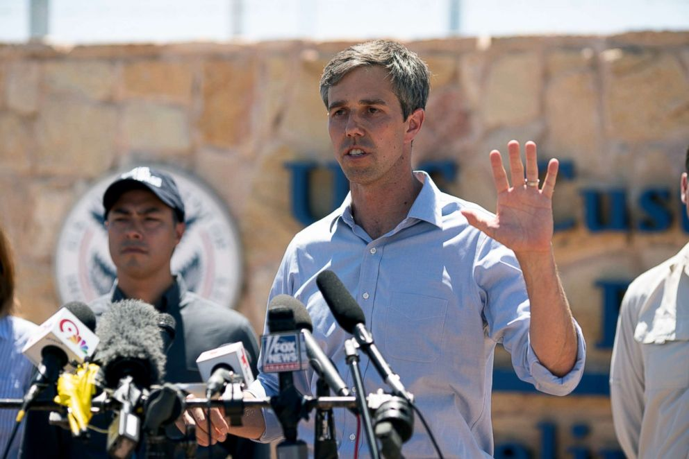 PHOTO: Texas Congressman Beto ORourke addresses the press, June 23, 2018, in Tornillo, Texas.