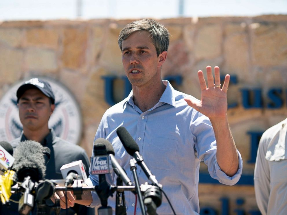 PHOTO: Texas Congressman Beto ORourke addresses the press on June 23, 2018, in Tornillo, Texas.
