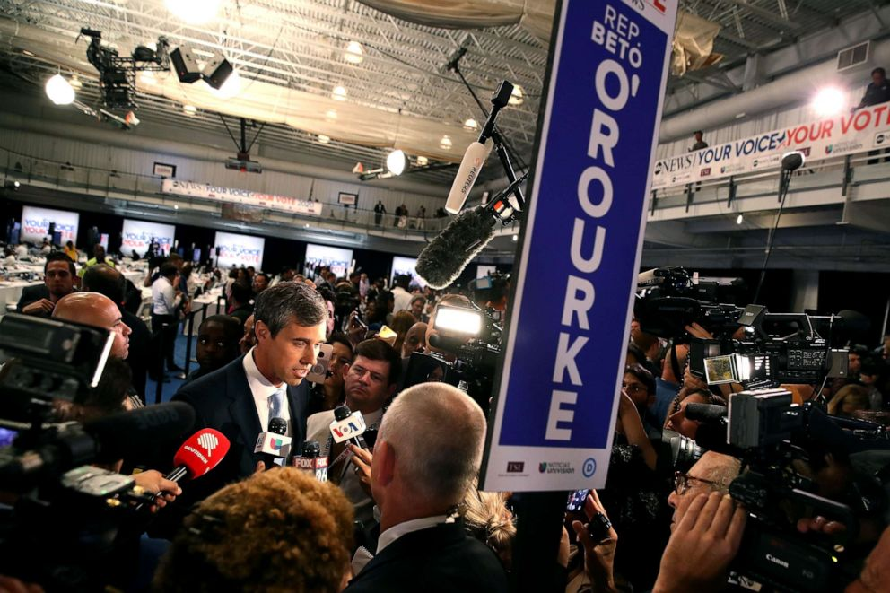 PHOTO: Democratic presidential candidate former Texas congressman Beto ORourke is interviewed by the media in the spin room after the Democratic Presidential Debate at Texas Southern University, Sept. 12, 2019, in Houston, Texas.
