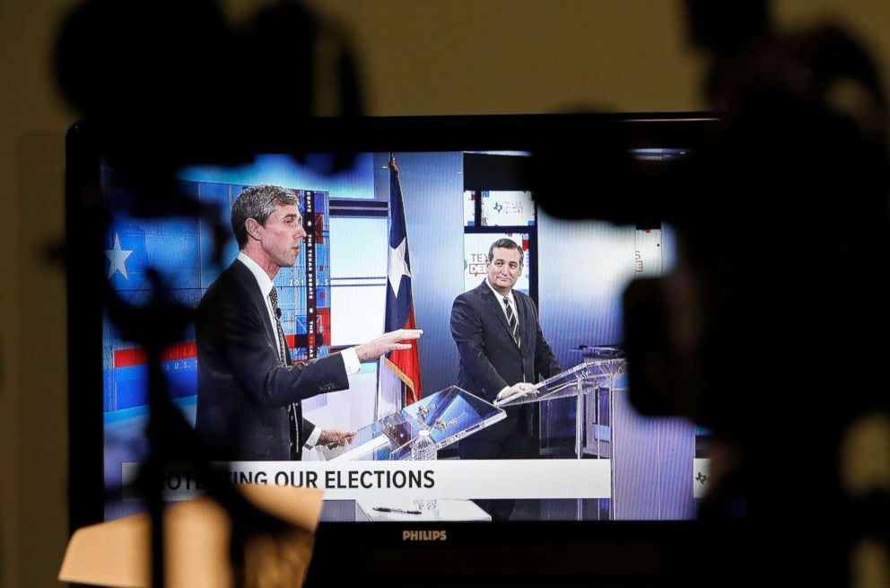 PHOTO: A television shows the last scheduled debate between candidates for the Senate, Beto ORourke and Senator Ted Cruz, in San Antonio, Oct. 16, 2018.