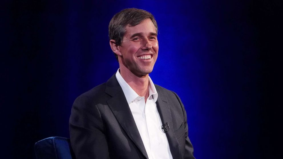Beto O'Rourke speaks to Oprah Winfrey on stage during a taping of her TV show in New York, Feb. 5, 2019.