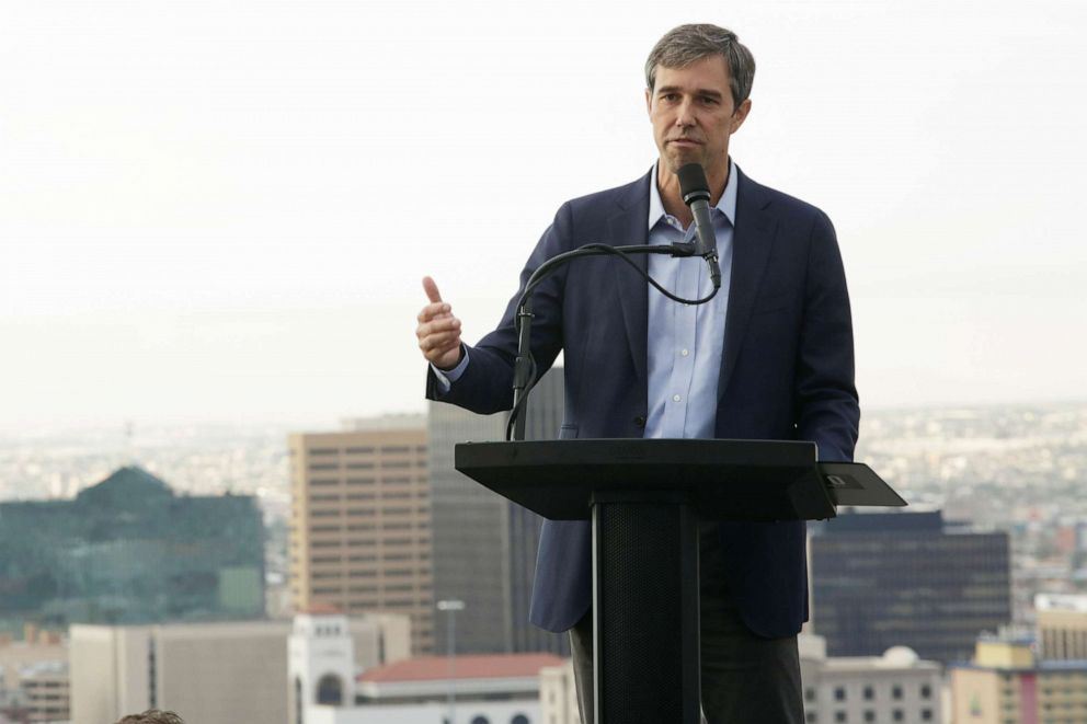 PHOTO: Democratic 2020 U.S. presidential candidate Beto ORourke addresses the nation in El Paso, Texas, August 15, 2019.