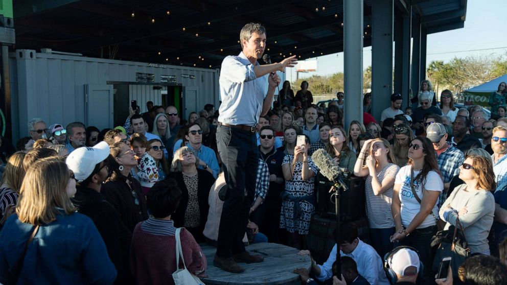 Beto O'Rourke addresses supporters during a campaign stop at Tradesman Brewing Company, March 22, 2019, in Charleston, S.C.