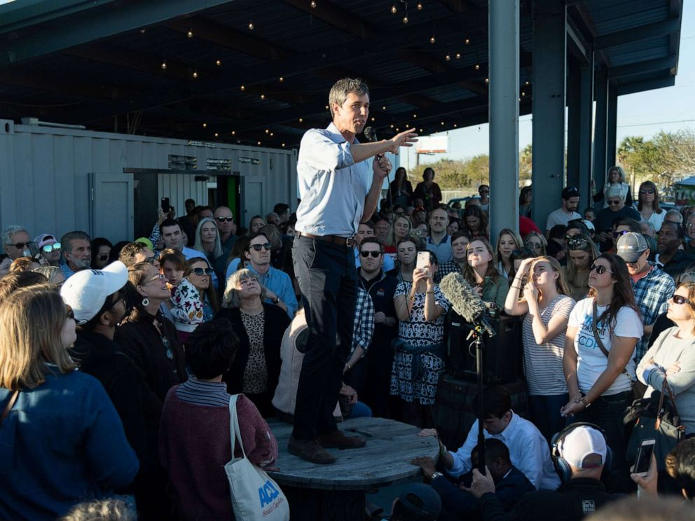 PHOTO: Beto ORourke addresses supporters during a campaign stop at Tradesman Brewing Company, March 22, 2019, in Charleston, S.C.