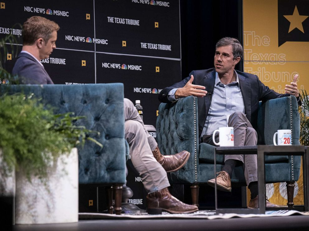 PHOTO: Democratic presidential candidate and former Rep. Beto ORourke speaks with Garrett Haake of MSNBC during a panel at The Texas Tribune Festival on Sept. 28, 2019 in Austin, Texas.