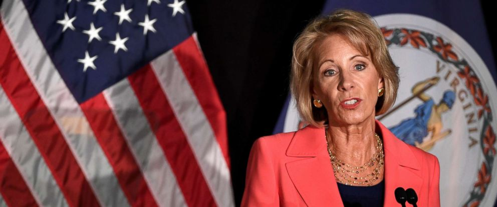 PHOTO: Education Secretary Betsy DeVos makes remarks during a major policy address on Title IX enforcement, which in college covers sexual harassment, rape and assault, at George Mason University, in Arlington, Virginia, Sept. 7, 2017.