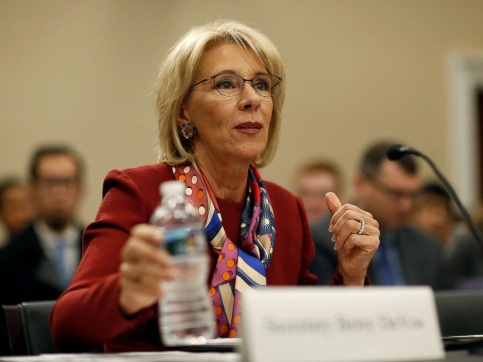 PHOTO: U.S. Secretary of Education Betsy DeVos testifies to the House Appropriations Labor, Health and Human Services, Education, and Related Agencies Subcommittee in Washington, March 20, 2018.