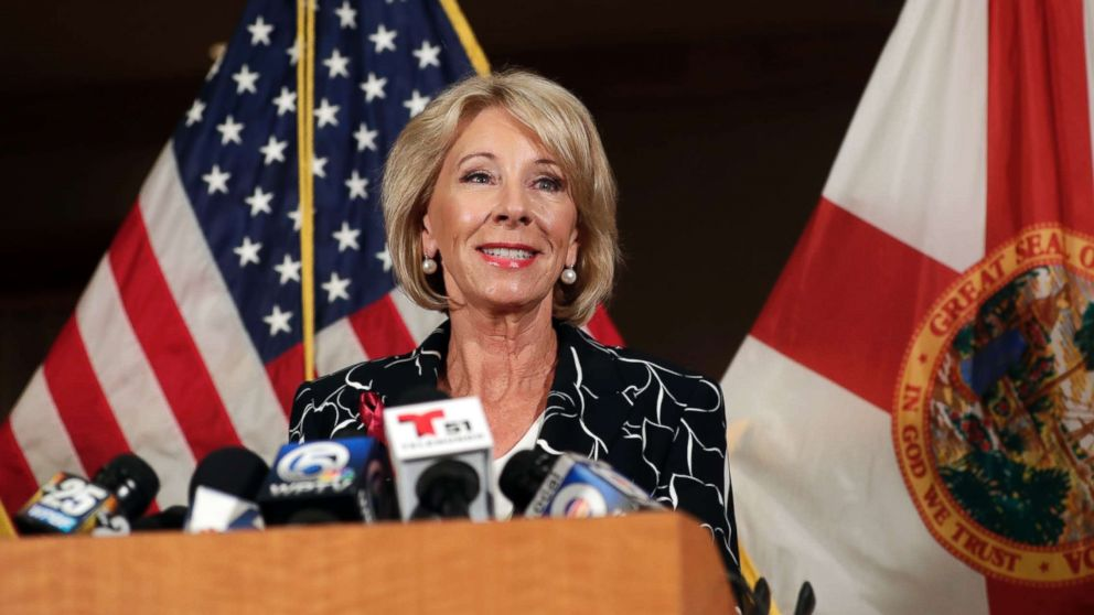 Secretary of Education Betsy DeVos speaks at a news conference following a visit to Marjory Stoneman Douglas High School, March 7, 2018, in Coral Springs, Fla.