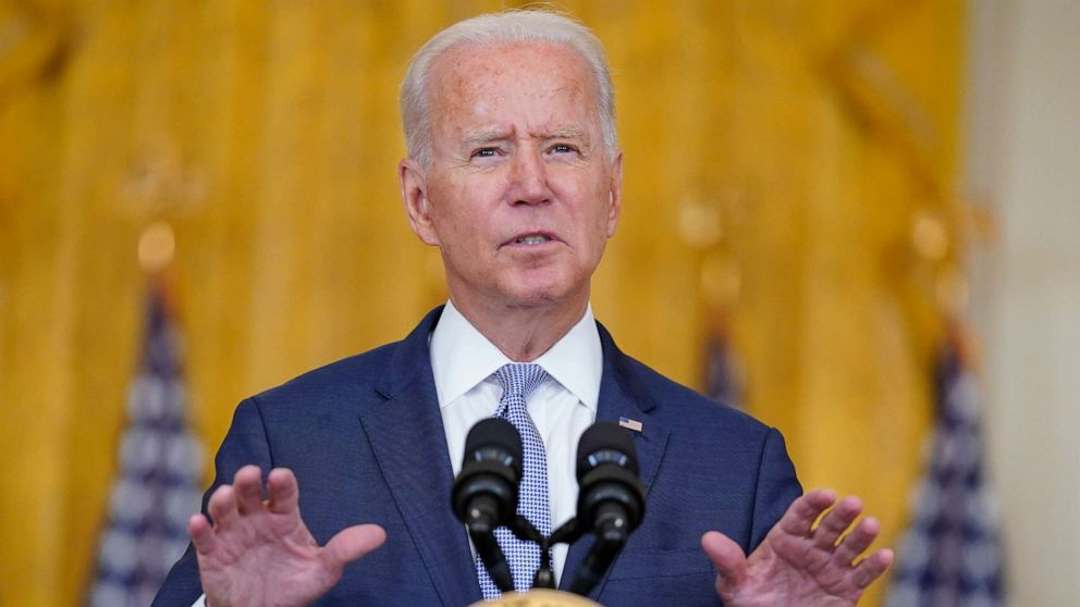 """PHOTO: President Joe Biden speaks about prescription drug prices and his """"Build Back Better"""" agenda from the East Room of the White House, Aug. 12, 2021, in Washington."""