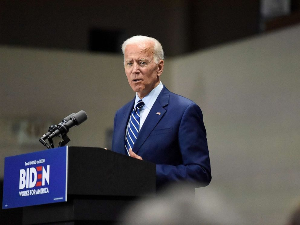 PHOTO: Democratic presidential candidate and former vice president Joe Biden speaks at a campaign event in Sumter, S.C, July 6, 2019.