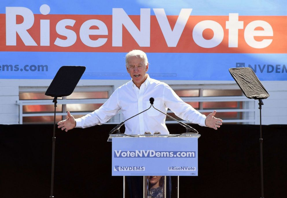PHOTO: Joe Biden speaks during a rally at the Culinary Workers Union Hall Local 226 as he campaigns for Nevada Democratic candidates, Oct. 20, 2018, in Las Vegas.