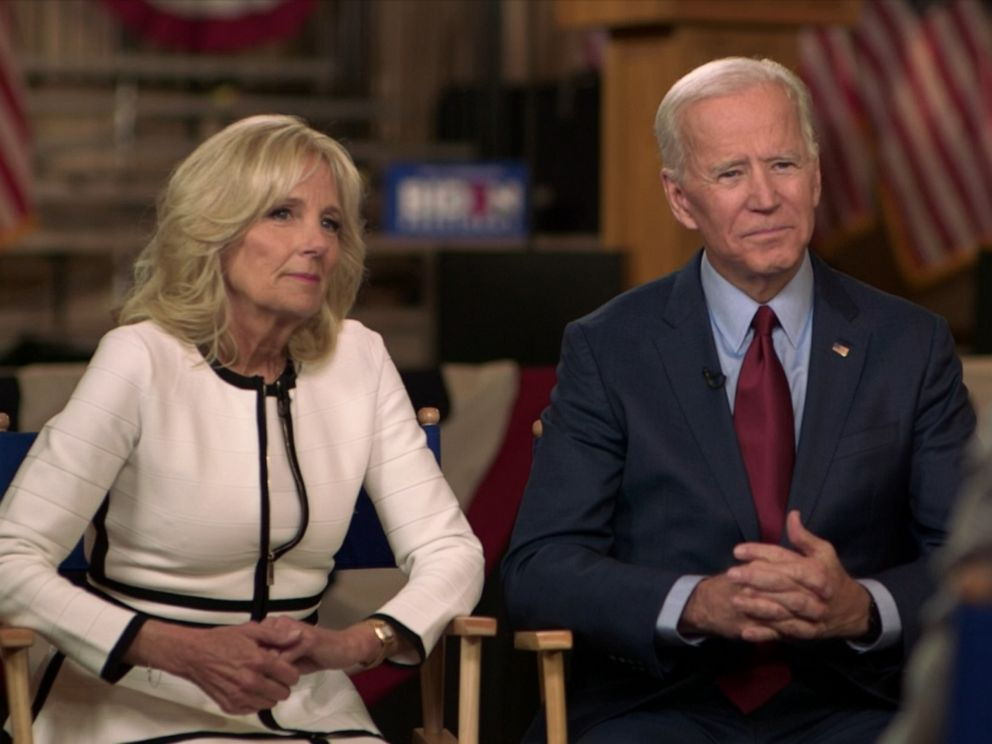 PHOTO: Jill and Joe Biden speak with ABC News Robin Roberts, April 29, 2019.