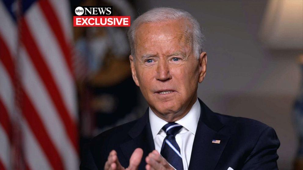 PHOTO: President Joe Biden speaks with ABC News' George Stephanopoulos, Aug. 18, 2021, in Washington, D.C.