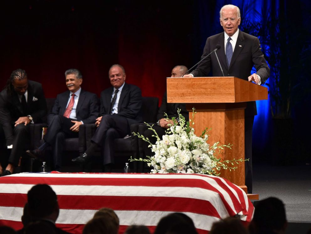 PHOTO: Former Vice President Joe Biden speaks during the memorial service for the late Senator John McCain at the North Phoenix Baptist Church, Aug. 30, 2018, in Phoenix.
