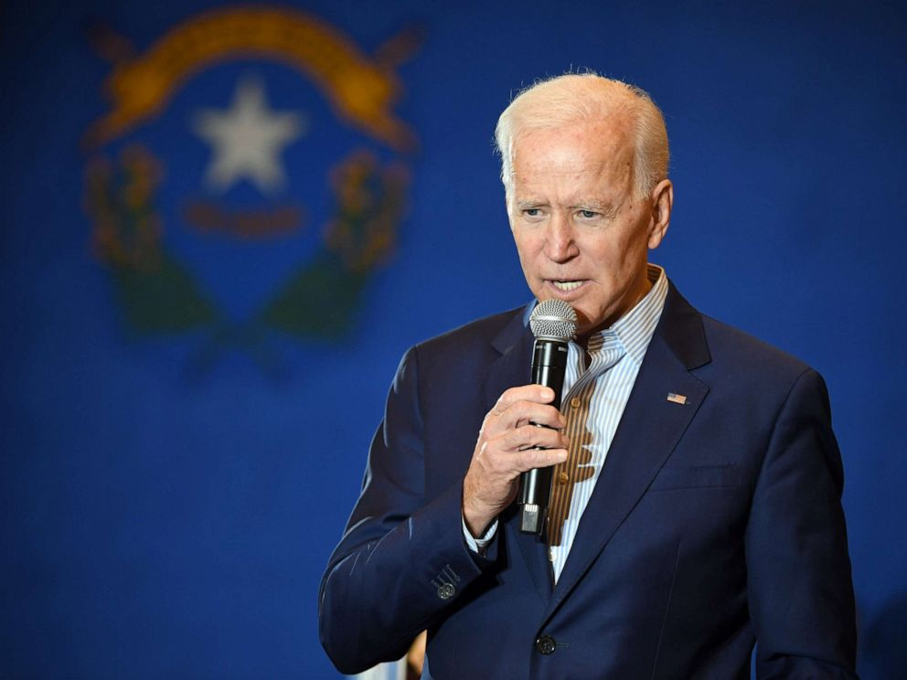 PHOTO: Democratic presidential candidate and former Vice President Joe Biden speaks at the International Union of Painters and Allied Trades District Council 16, May 7, 2019 in Henderson, Nev.