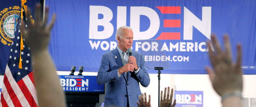 PHOTO: Democratic presidential candidate and former Vice President Joe Biden takes questions from the audience at a campaign stop at the IBEW Local 490 in Concord, N.H., June 4, 2019.