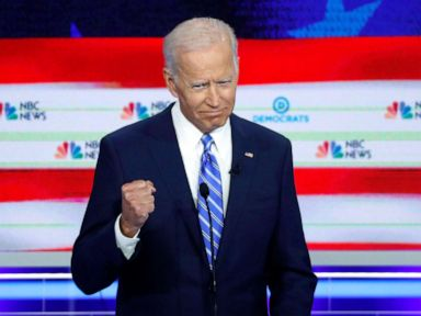 PHOTO: Former Vice President Joe Biden gestures during the second night of the first Democratic presidential candidates debate in Miami, June 27, 2019.