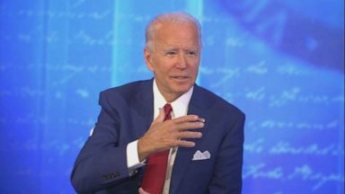 PHOTO: Democratic Presidential candidate and former Vice President Joe Biden participates in an ABC News town hall event at the National Constitution Center in Philadelphia, Oct. 15, 2020.