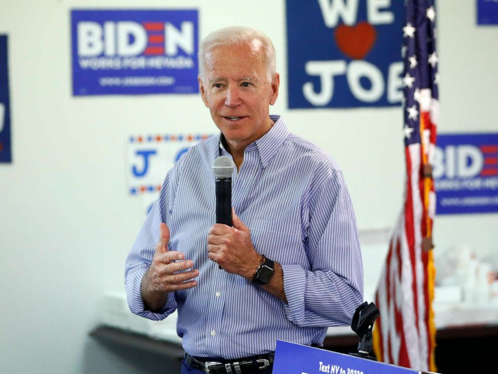 PHOTO: In this July 20, 2019, photo, former Vice President and Democratic presidential candidate Joe Biden speaks at a campaign event in an electrical workers union hall in Las Vegas.
