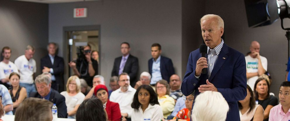 PHOTO: Democratic presidential candidate and former Vice President Joe Biden speaks at the Asian and Latino Coalition Town Hall at the Plumbers and Steamfitters Local 33 on August 8, 2019, in Des Moines, Iowa.