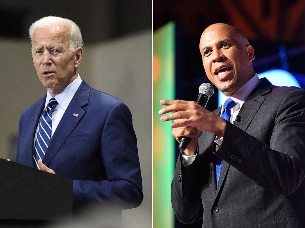 PHOTO: Joe Biden, left, and Cory Booker.