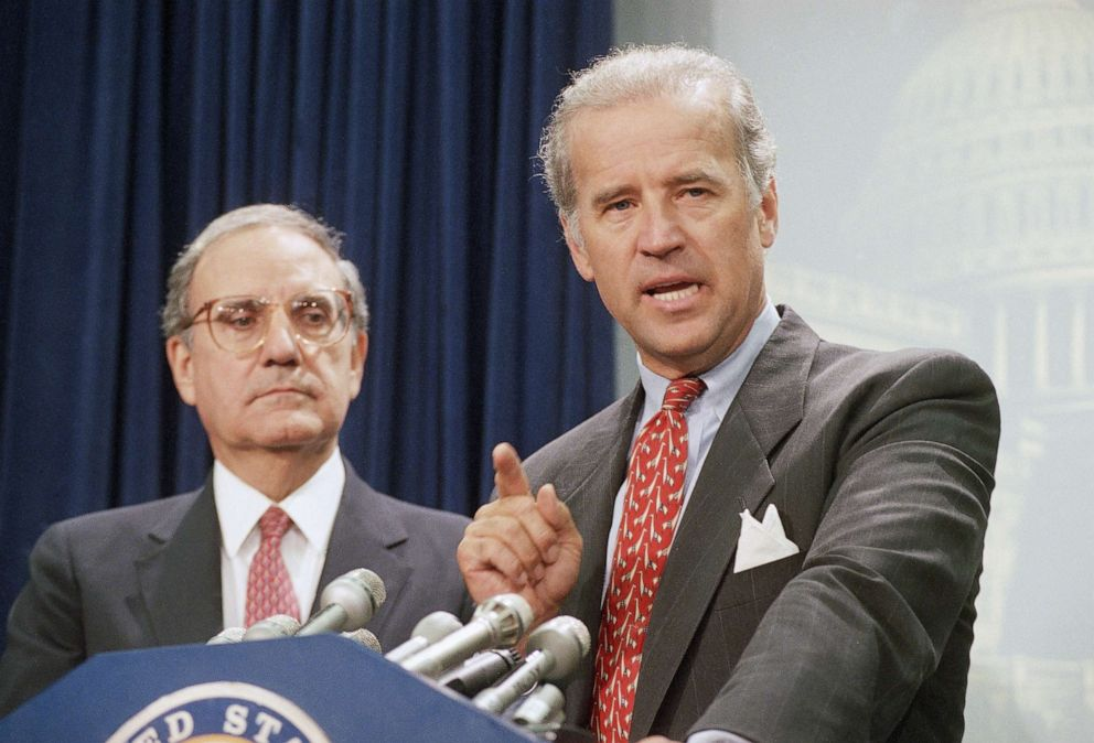 PHOTO:Sen. Joseph Biden, D-Del., right, accompanied by Senate Majority Leader George Mitchell of Maine, gestures during a Capitol Hill news conference, Aug. 25, 1994, after the Senate voted to push the $30 billion crime bill.