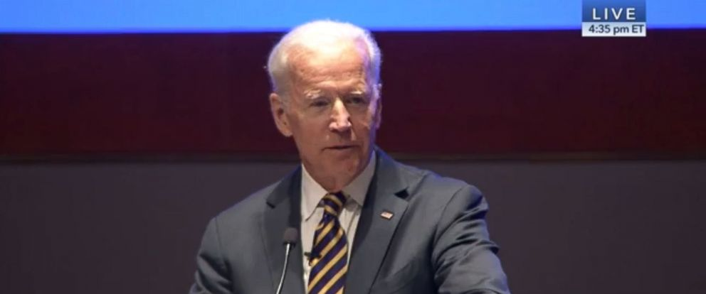 PHOTO: Former Vice President Joe Biden speaks to House Democrats on Feb. 7, 2018.