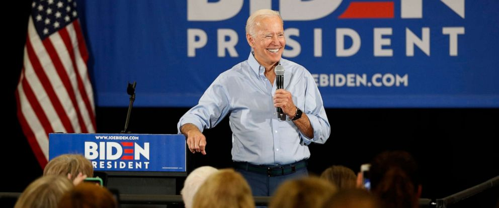PHOTO: Democratic presidential candidate and former Vice President Joe Biden speaks on June 12, 2019, in Clinton, Iowa.