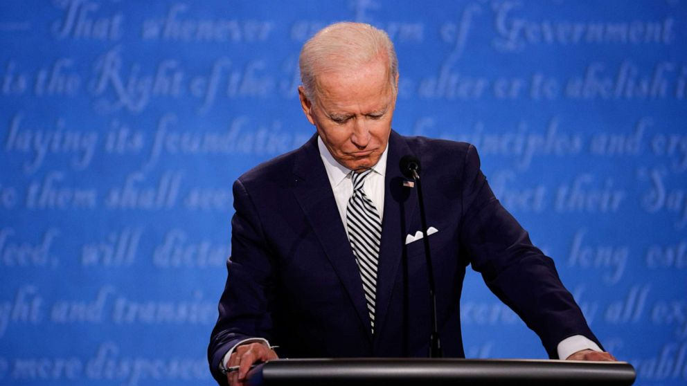 PHOTO: Democratic presidential nominee Joe Biden participates in the first presidential debate with President Donald Trump, Sept. 29, 2020, in Cleveland.