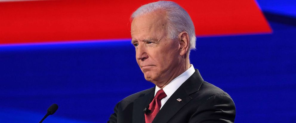 PHOTO: Democratic presidential hopeful former Vice President Joe Biden gestures during the fourth Democratic primary debate of the 2020 presidential campaign season in Westerville, Ohio on Oct. 15, 2019.