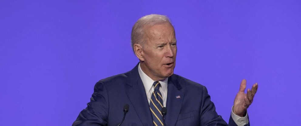 PHOTO:Former Vice President Joe Biden speaks at the International Brotherhood of Electrical Workers Construction and Maintenance conference, April 5, 2019, in Washington, D.C.
