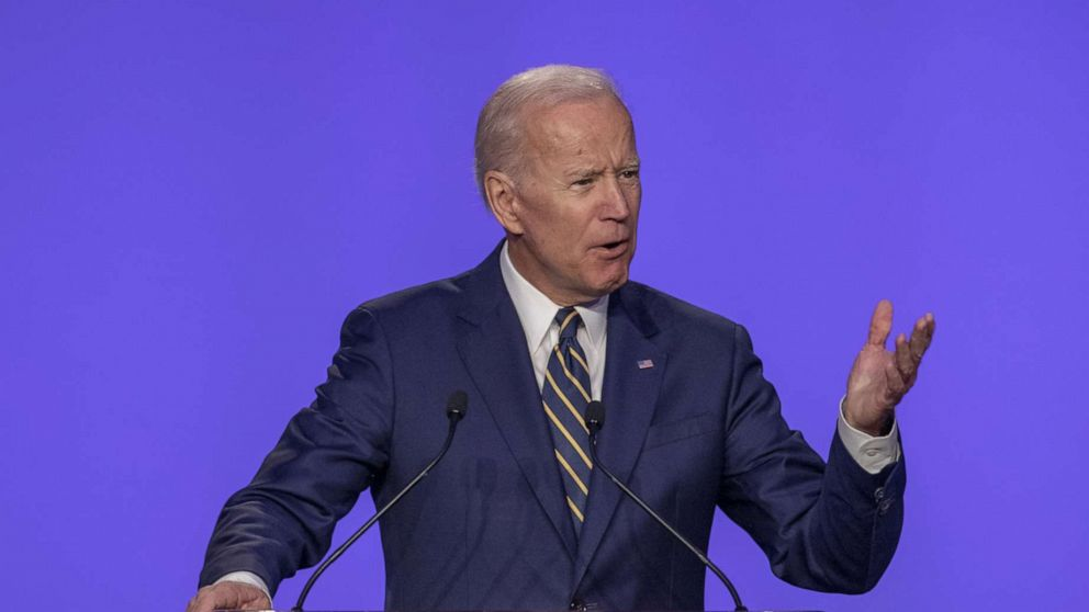 Former Vice President Joe Biden speaks at the International Brotherhood of Electrical Workers Construction and Maintenance conference, April 5, 2019, in Washington, D.C.