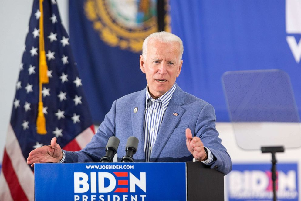 PHOTO: Democratic presidential candidate Joe Biden holds a campaign event at the IBEW Local 490, June 4, 2019, in Concord, N.H.
