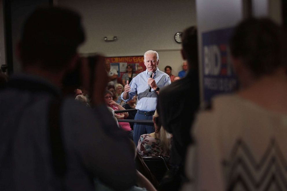PHOTO: Democratic presidential candidate and former Vice President Joe Biden speaks during a campaign stop at Clinton Community College, June 12, 2019, in Clinton, Iowa.