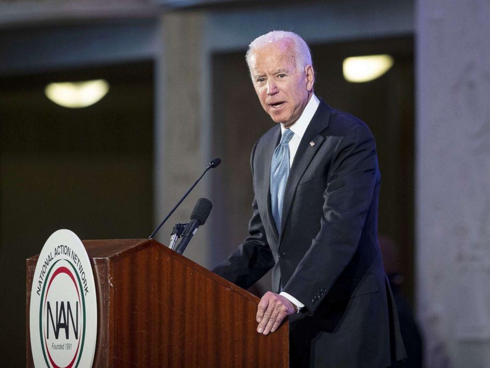 PHOTO: Former Vice President Joe Biden speaks during the National Action Network Breakfast, Jan. 21, 2019, in Washington, D.C.