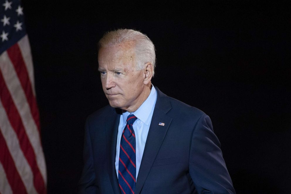 PHOTO: Democratic presidential candidate former Vice President Joe Biden exits after making remarks about the DNI Whistleblower Report as well as President Trumps ongoing abuse of power at the Hotel DuPont on Sept. 24, 2019 in Wilmington, Del.