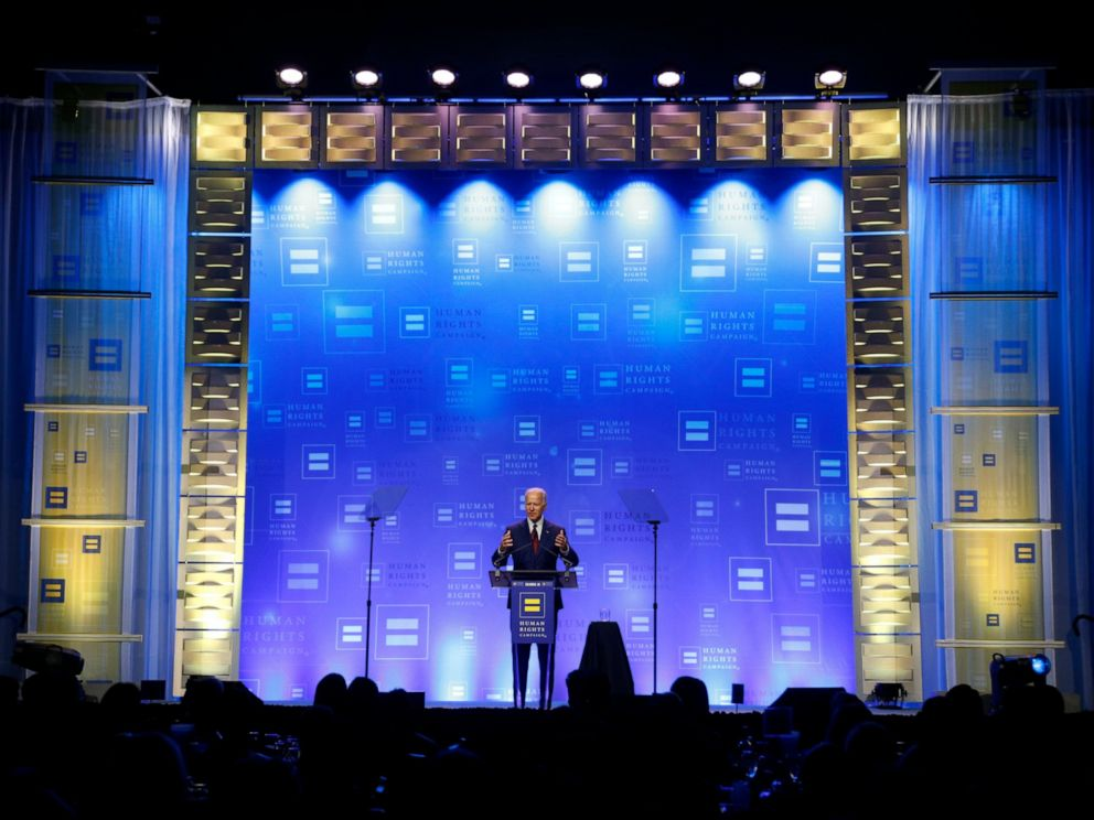 PHOTO: Democratic presidential candidate, former Vice President Joe Biden speaks during the Human Rights Campaign Columbus, Ohio Dinner at Ohio State University Saturday, June 1, 2019.