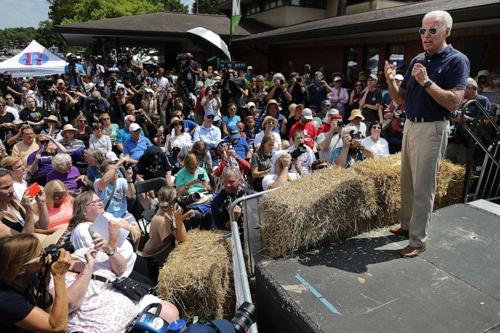PHOTO: Democratic presidential candidate and former Vice President Joe Biden delivers a 20-minute campaign speech at the Des Moines Register Political Soapbox at the Iowa State Fair August 08, 2019, in Des Moines, Iowa.