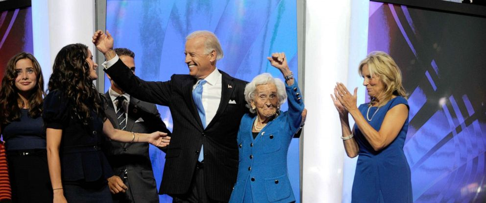 PHOTO: Joe Biden on stage after his speech with his mother at the Pepsi Center during the third day of the Democratic National Convention, Aug. 27, 2008, in Denver, Colo.