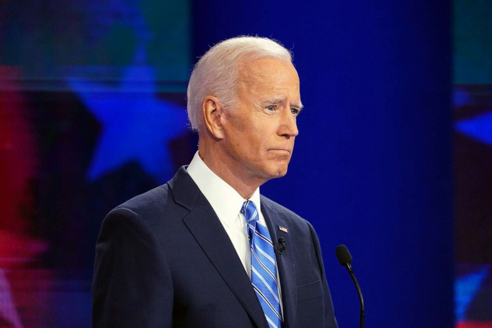 PHOTO: Former Vice President Joe Biden during the Democratic presidential debate in Miami, June 27, 2019.