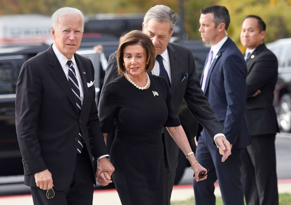 PHOTO: Former Vice President Joe Bidenv and House Speaker Nancy Pelosi arrive for the funeral service of Rep. Elijah Cummings at New Psalmist Baptist Church, Oct. 25, 2019, in Baltimore.