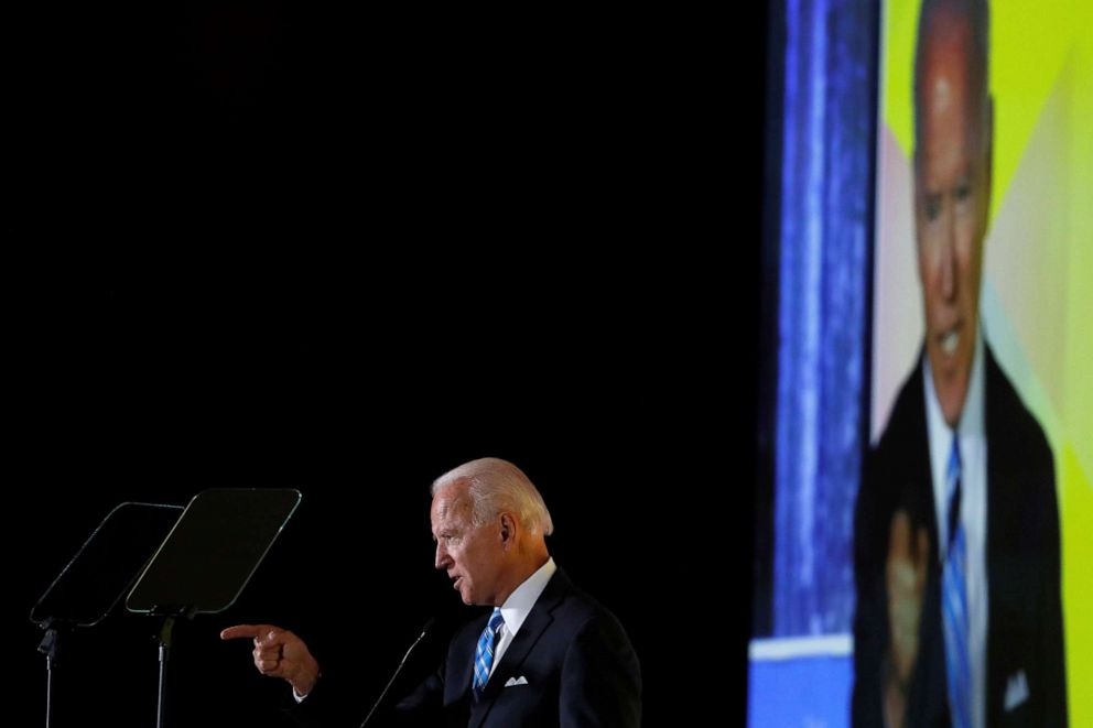 PHOTO: Democratic presidential candidate former Vice President Joe Biden delivers a speech during the Womens Leadership Forum in Washington, on Oct. 17, 2019