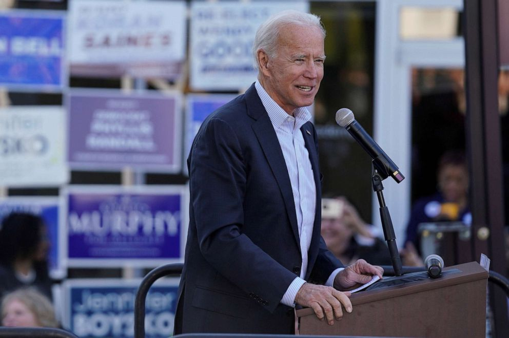 PHOTO: Democratic presidential candidate and former Vice President Joe Biden speaks at a rally in Sterling, Virginia, on Nov. 3, 2019.
