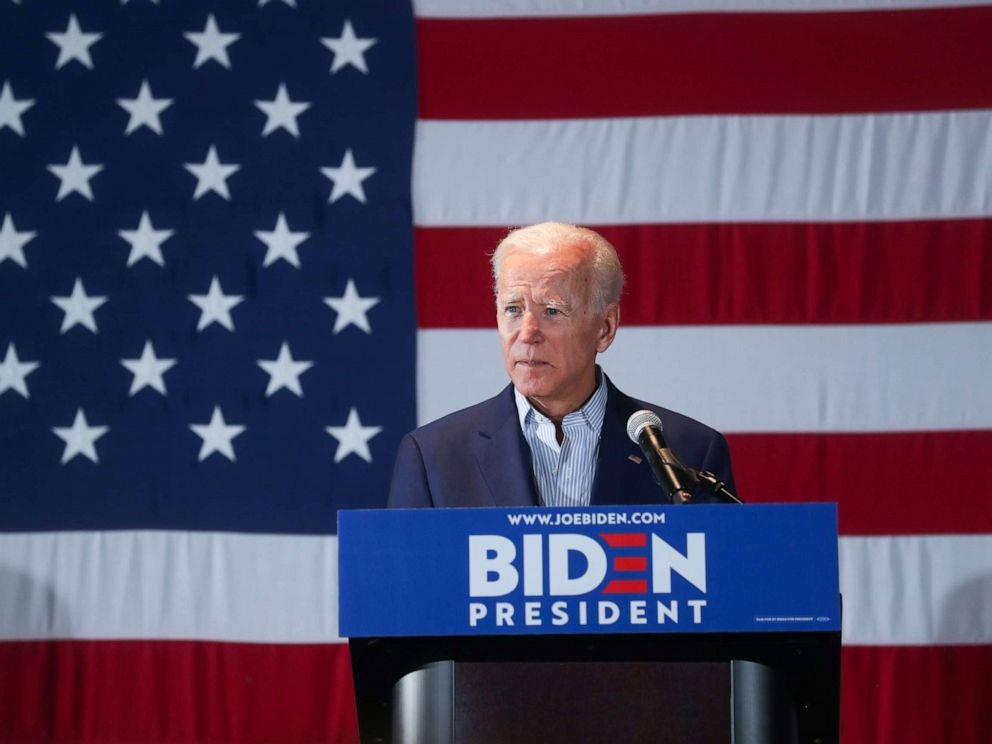 PHOTO: Democratic presidential candidate and former Vice President Joe Biden addresses a campaign rally in Cedar Rapids, Iowa, April 30, 2019.