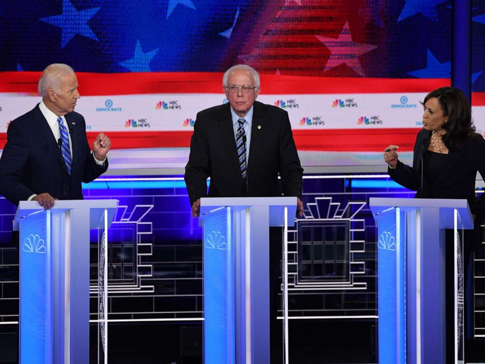 PHOTO: Joe Biden, Bernie Sanders and Kamala Harris participate in the second night of the first 2020 democratic presidential debate at the Adrienne Arsht Center for the Performing Arts in Miami, June 27, 2019.